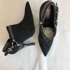 Guess Suede Booties 6 Black Leather EUC WGTORYCE